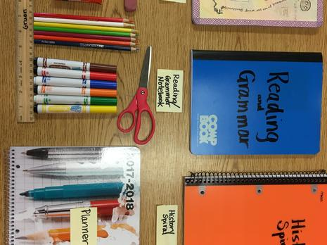 2 composition books, 2 subject spiral, pencil, eraser, glue, ruler, 4 color  pen, scissors, colored pencils, markers